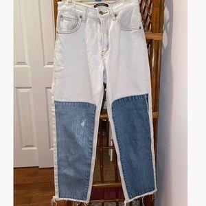 Brandy Melville White-Denim color block jeans